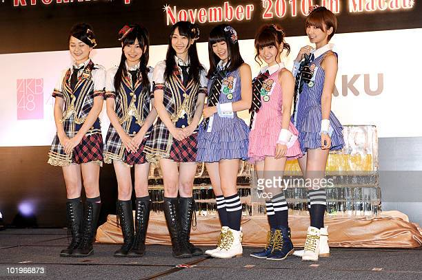 Members of Japanese girl group AKB48 and SKE48 attend a press conference to promote their up-coming concert on June 10, 2010 in Macau, China.
