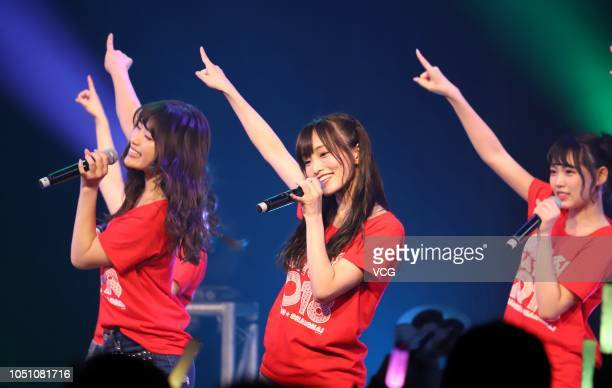 Members of Japanese idol girl group NMB48 perform onstage during the 'NMB48 Asia Tour 2018' at the Bandai Namco Shanghai Base on October 7 2018 in...