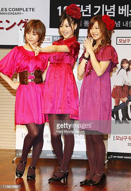 """Members of Japanese pop idol group Morning Musume attend a press photo call at DS Hall, to promote their new album """"Morning Musume All Singles..."""