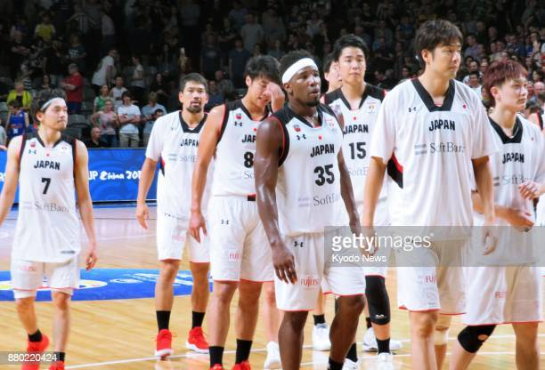 Members of Japan's national basketball team are pictured after losing to Australia 8258 in a World Cup qualifier in Adelaide on Aug 27 2017 ==Kyodo