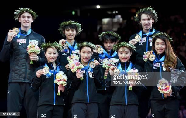 Members of Japan's winning skating team Sumire Suto Mai Mihara Wakaba Higuchi and Kana Muramoto Francis BoudreauAudet Yuzuru Hanyu Shoma Uno Chris...