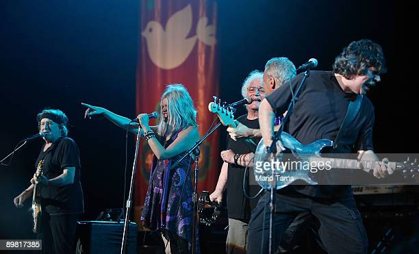 Members of Jefferson Starship perform at the concert marking the 40th anniversary of the Woodstock music festival August 15 2009 in Bethel New York...