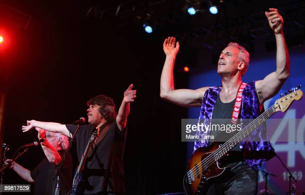 Members of Jefferson Starship Slick Aguilar and David Frieberg perform at the concert marking the 40th anniversary of the Woodstock music festival...
