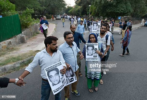Members of JNUSU during the protest regarding the missing case of JNU student Najeeb Ahmad as he disappeared after fight with ABVP members inside the...