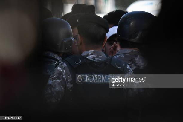 Members of Jordanian Gendarmerie and Police during a students protest outside the Ministry of Education HQ in Amman city center On Wednesday February...