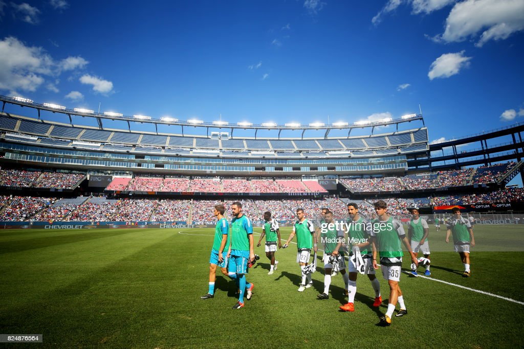 Members of Juventus walk onto the pitch before the International Champions Cup 2017 match against Roma at Gillette Stadium on July 30, 2017 in Foxboro, Massachusetts.