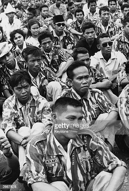Members of KAMI and KAPPI Indonesia's militant anti communist university and high school students action front gather to hear Bung Tomo a leader of...