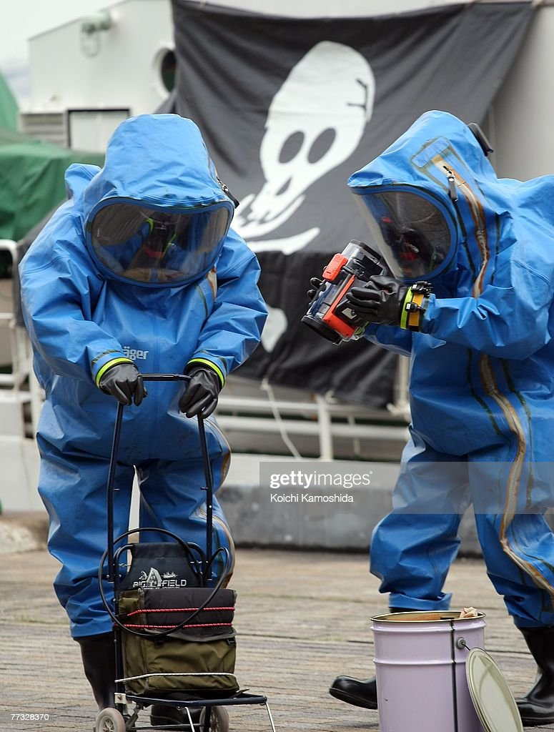 Members of Kanagawa Prefectural Police exercise the removal of unidentified chemical substances with an anti-chemical suit during the Proliferation Security Initiative (PSI) Maritime Interdiction Exercise 'Pacific Shield 07', at Yokohama Port on October 15, 2007 in Kanagawa, Japan. Australia, France, New Zealand, Singapore, the U.K. and the U.S. will also participate in the Exercise. PSI is an international effort to halt the proliferation of weapons of mass destruction, missiles and related materials, threat to the peace and stability of the international community.