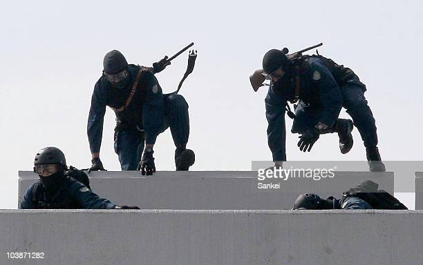 Members of Kanagawa Prefectural Police Special Assault Team take part in the security drill in preparation for the APEC on September 6 2010 in...