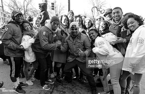 Members of Kappa Alpha Psi Fraternity Inc and Alpha Kappa Alpha Sorority Inc with television personality Stevie J attend 2016 Martin Luther King Jr...