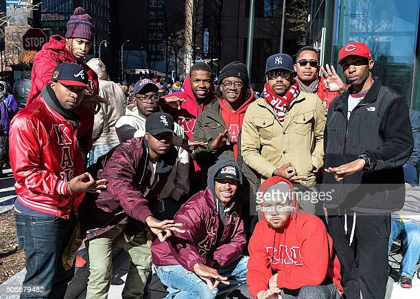 Members of Kappa Alpha Psi Fraternity Inc attend 2016 Martin Luther King Jr Day parade on January 18 2016 in Atlanta Georgia