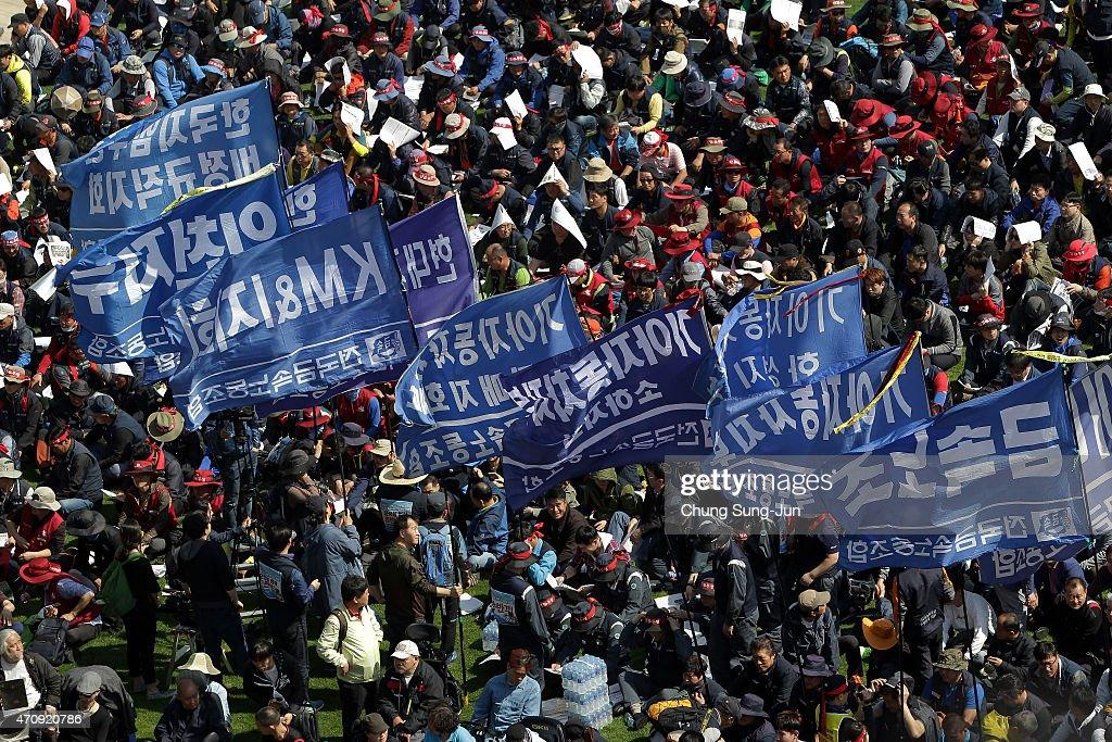Korean Confederation Of Trade Unions (KCTU) Goes On Strike : News Photo