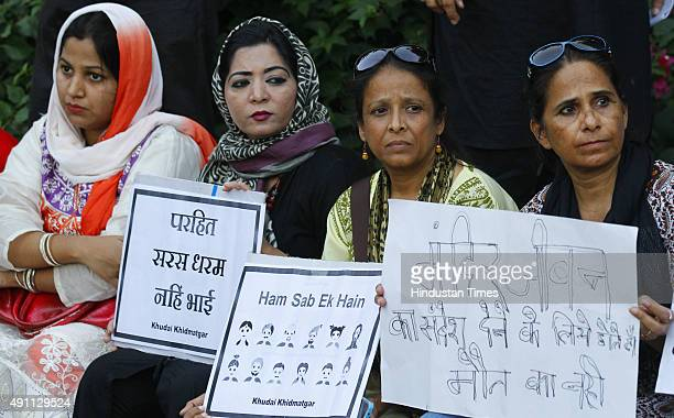 Members of Khudai Khidmatgar protest against the killing of Mohammed Akhlaq resident of Dadri in front of Rajghat on October 3 2015 in New Delhi...