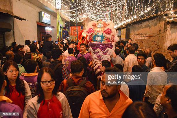 Members of Kolkata's Chinese community celebrates New Year in Chinatown The festivities includes drumming performances lion dancers dragon dancers...