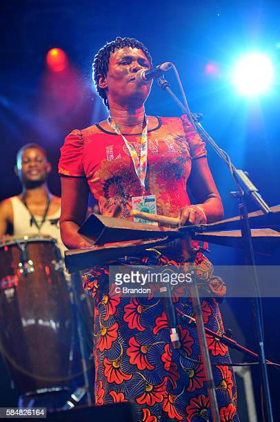 Members of Konono No 1 perfom on stage during Day 4 of the Womad Festival at Charlton Park on July 31 2016 in Wiltshire England