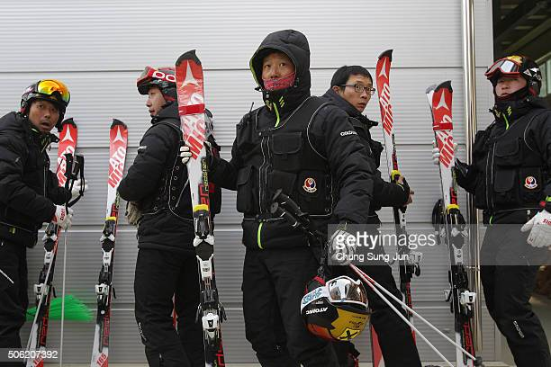 Members of Korea Ski Assocoation prepare for patrol during the venue opening ceremony for the forthcoming official Test Event of the Pyeongchang 2018...