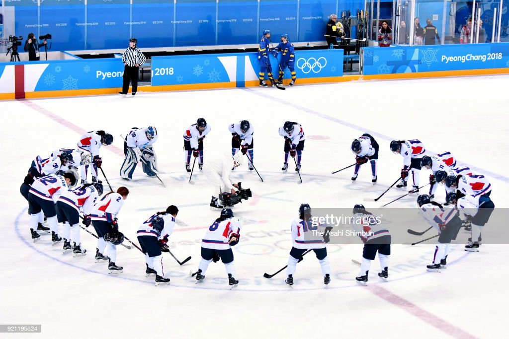 Members of Korea team huddle after the Women's Classifications game on day eleven of the PyeongChang 2018 Winter Olympic Games at Kwandong Hockey Centre on February 20, 2018 in Gangneung, South Korea.