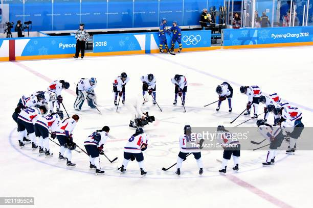 Members of Korea team huddle after the Women's Classifications game on day eleven of the PyeongChang 2018 Winter Olympic Games at Kwandong Hockey...