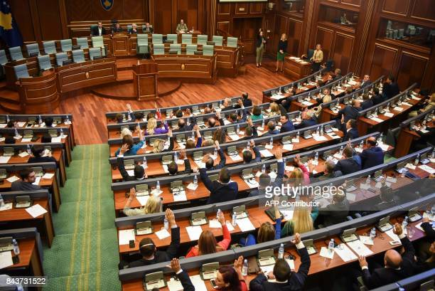 Members of Kosovo's parliament vote for a new parliamentary speaker on September 7 2017 in Pristina Democratic Party of Kosovo leader Kadri Veseli...