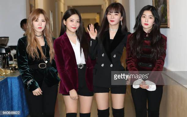 Members of Kpop girlband Red Velvet pose for a photo after a rehearsal for a rare concert at the 1500seat East Pyongyang Grand Theatre in Pyongyang...