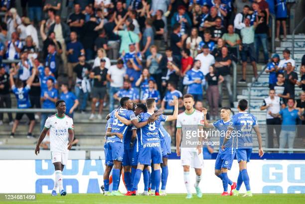 Members of KRC Genk celebrates after the 1-0 goal of Theo Bongonda forward of KRC Genk during the Jupiler Pro League match between KRC Genk and OH...