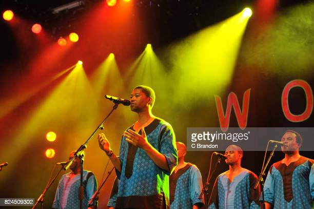Members of Ladysmith Black Mambazo perform on stage during Day 4 of the Womad Festival at Charlton Park on July 30 2017 in Wiltshire England