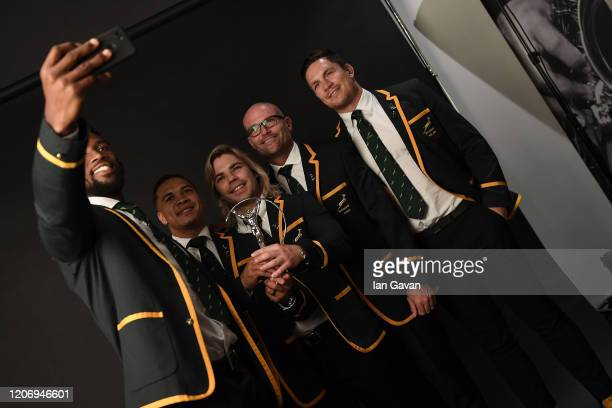 Members of Laureus World Team of the Year the South Africa Mens Rugby Team Siya Kolisi Cheslin Kolbe Faf de Klerk Jacques Nienaber and Schalk Brits...