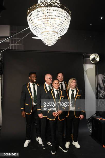 Members of Laureus World Team of the Year the South Africa Mens Rugby Team Siya Kolisi Jacques Nienaber Cheslin Kolbe Schalk Brits and Faf de Klerk...
