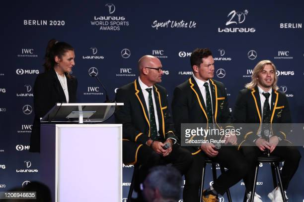 Members of Laureus World Team of the Year the South Africa Mens Rugby Team Jacques Nienaber Francois Louw and Faf de Klerk during the 2020 Laureus...