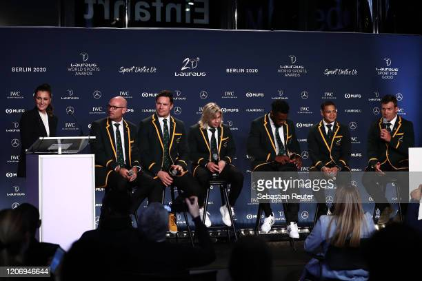 Members of Laureus World Team of the Year the South Africa Mens Rugby Team Jacques Nienaber Francois Louw Faf de Klerk Siya Kolisi Cheslin Kolbe and...