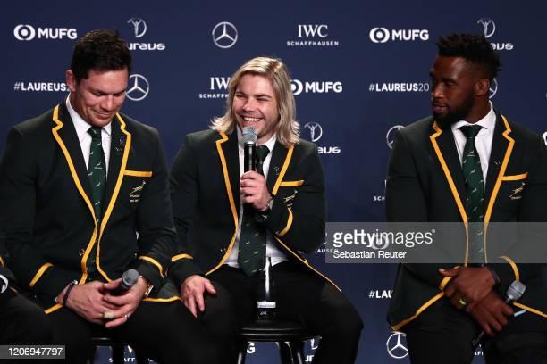 Members of Laureus World Team of the Year the South Africa Mens Rugby Team Francois Louw Faf de Klerk and Siya Kolisi during the 2020 Laureus World...