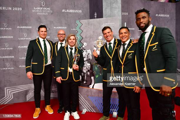 Members of Laureus World Team of the Year the South Africa Mens Rugby Team Francois Louw Jacques Nienaber Faf de Klerk Schalk Brits Cheslin Kolbe and...