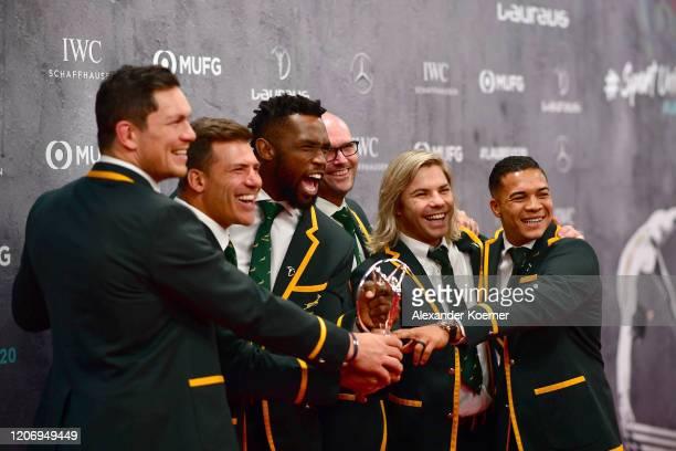 Members of Laureus World Team of the Year the South Africa Mens Rugby Team Francois Louw Schalk Brits Siya Kolisi Jacques Nienaber Faf de Klerk and...