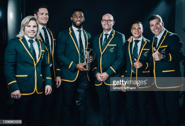 Members of Laureus World Team of the Year the South Africa Mens Rugby Team Faf de Klerk Francois Louw Siya Kolisi Jacques Nienaber Cheslin Kolbe and...