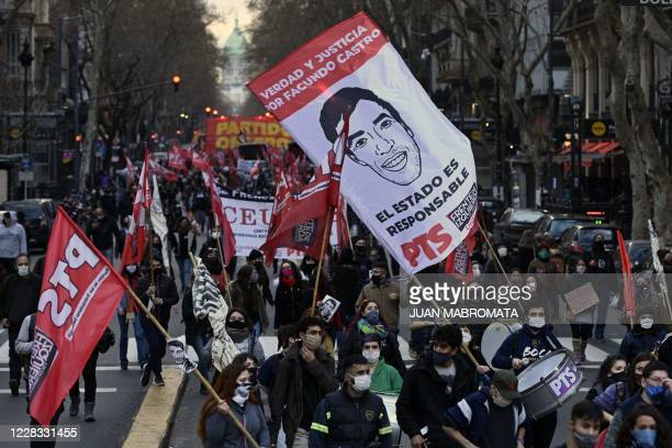 Members of leftist parties march to Plaza de Mayo square in Buenos Aires on September 3 2020 to demand justice for the death of Facundo Astudillo who...