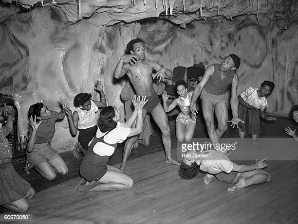 Members of Les Ballets Negres rehearsing a ballet at Mack's Rehearsal Rooms in Great Windmill Street London prior to a tour of Switzerland 14th...