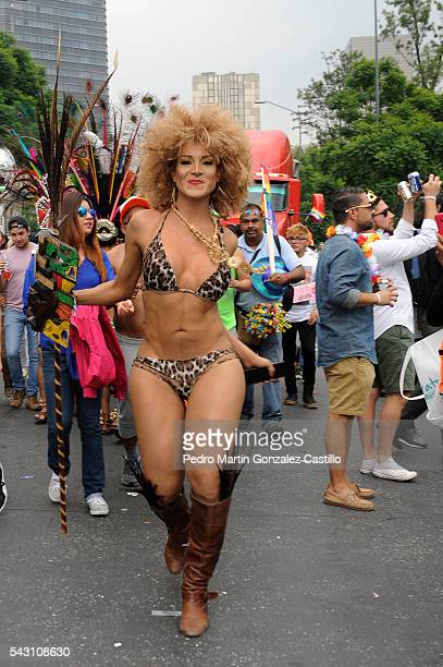 Members of Lesbian Gay Bisexual Transsexual Transgender and Intersex march on June 25 2016 in Mexico City Mexico