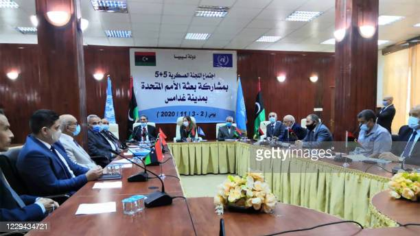 Members of Libyan joint military commission meet for talks in Ghadames, a desert oasis some 465 kilometres southwest of the capital Tripoli, on...