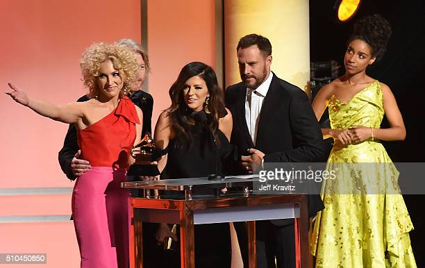 Members of Little Big Town accept the award for Best Country Duo/Group Performance for 'Girl Crush' alongside singer Lianne La Havas onstage during...