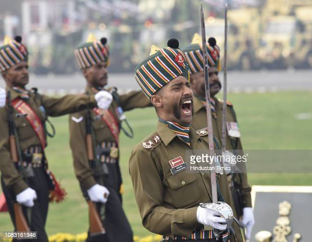 Members of Madras regiment of the Indian Army during the Army Day parade at Cariappa Parade Ground on January 15 2019 in New Delhi India The Army Day...