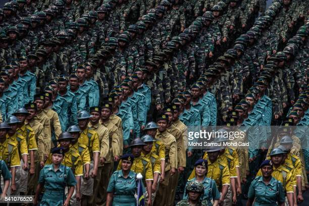 A members of Malaysian army march at Merdeka Square on August 31 2017 in Kuala Lumpur Malaysia Hari Merdeka is a national day of Malaysia to...