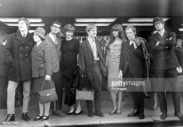 Members of Manfred Mann and their partners at London airport where they were leaving for a 10day tour of Czechoslovakia Paul Jones and his wife...