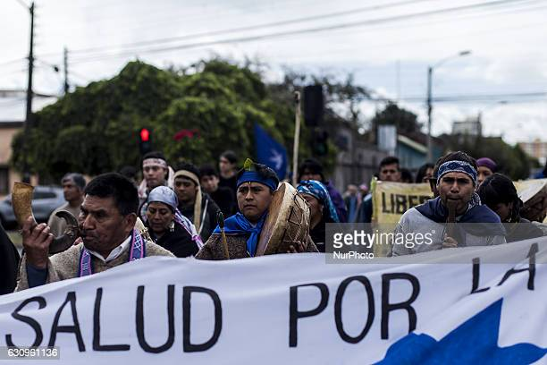 Members of mapuche communities during the demonstration in Temuco Chile on 4 January 2016 With traditional prayers and a march to mark the 9 years of...