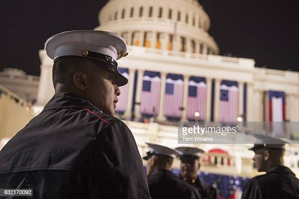 Members of Marine Barracks Washington gather on the West Front of the Capitol on Inauguration Day before Donald J Trump was sworn in as the 45th...