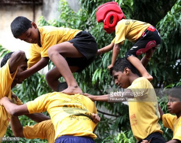 Members of Mazgoan Tadawadi practices for Govinda on Sunday in Mumbai