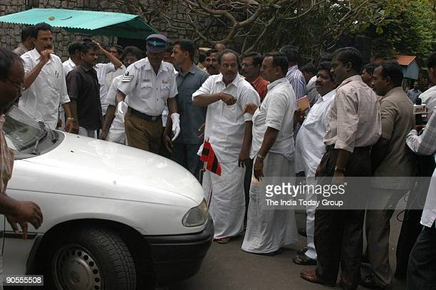 Members of MDMK Party are Celebrating in front of the Tamil Nadu CM Jayalalithaa's Poes Garden house as their Leader Vaiko has gone in the house to...