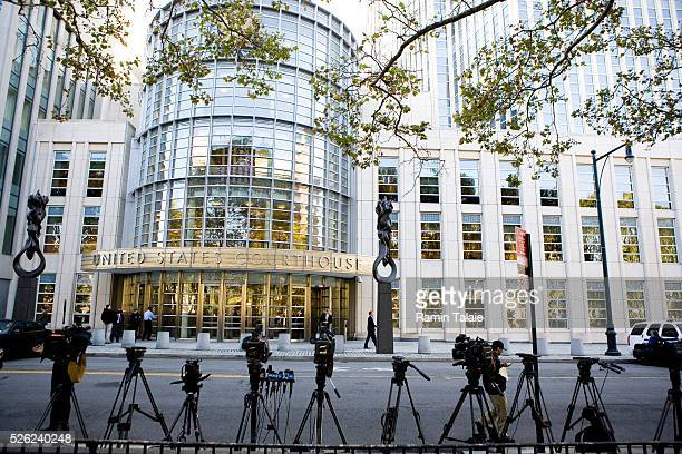 Members of media await announcement outside of the Brooklyn Federal Court where terror suspect Najibullah Zazi is scheduled to be arraigned in...
