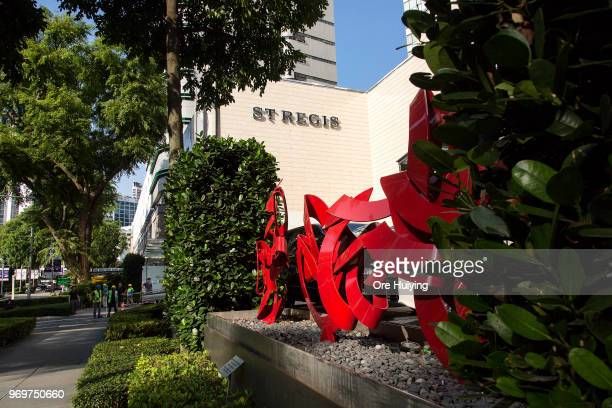 Members of media can be seen outside St Regis Hotel on June 8 2018 in Singapore The historic meeting between US President Donald Trump and North...