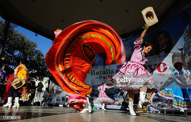 members of Mexica Ballet Folclorico perform during Cinco De Mayo festivities on May 5 2011 at El Pueblo de Los Angeles Historic Site on Olvera Street...