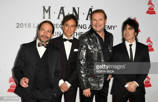 Members of Mexican rock group Mana Sergio Vallin Juan Calleros Fher Olvera and Alex Gonzalez arrive for the 2018 Latin Recording Academy Person of...